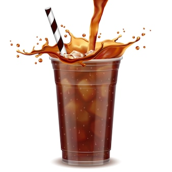 Iced coffee takeaway cup
