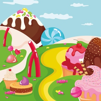 Iced confectionery sweets in landscape