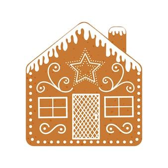煙突の伝統的なクリスマスクッキーとアイスジンジャーブレッドハウス