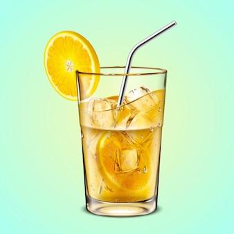 スライスした柑橘類とステンレス鋼ストロー分離、3dイラストとガラスカップのアイス緑茶