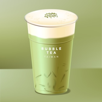 Iced taiwanese bubble tea, green tea, matcha with cream, cheese or milk cap