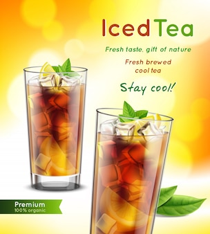 Iced tea package realistic advertising composition with full glasses mint leaves lemon promoting text vector illustration