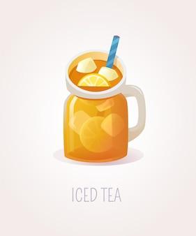 Холодный чай с лимоном в стеклянной банке с ручкой