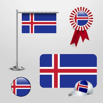 Iceland country flag haning on pole, ribbon badge banner, sports hat and round button