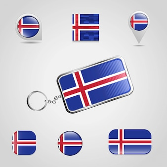 Iceland country flag on keychain and map pin different style