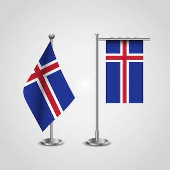 Iceland country flag on pole