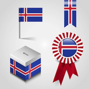 Iceland country flag set