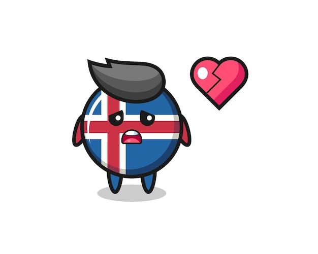 Иллюстрация шаржа флаг исландии разбитое сердце, милый дизайн