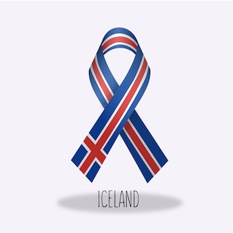 Iceland flag ribbon design