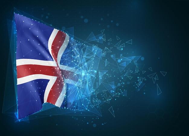 アイスランド、旗、青い背景の三角形のポリゴンからの仮想抽象的な3dオブジェクト