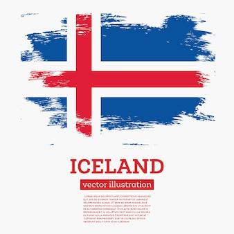 Флаг исландии с мазками. векторные иллюстрации.