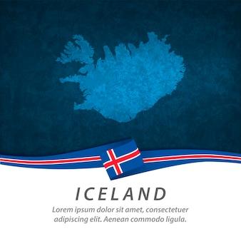 中央地図とアイスランドの旗