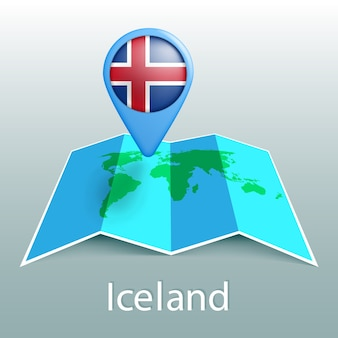 Iceland flag world map in pin with name of country on gray background