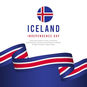 Iceland independence day vector template.