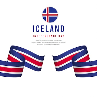 Iceland independence day vector template