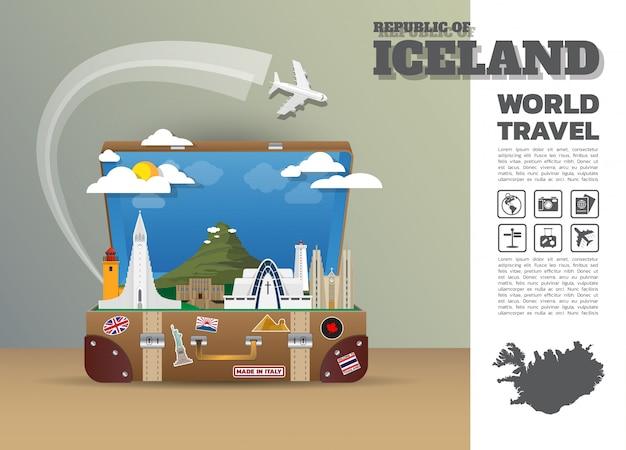 Исландия landmark global travel и путешествие инфографика багажа.3d дизайн