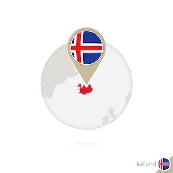 아이슬란드 지도 및 원 안에 플래그입니다. 아이슬란드의 지도, 아이슬란드 플래그 핀입니다. 세계 스타일의 아이슬란드 지도. 벡터 일러스트 레이 션.