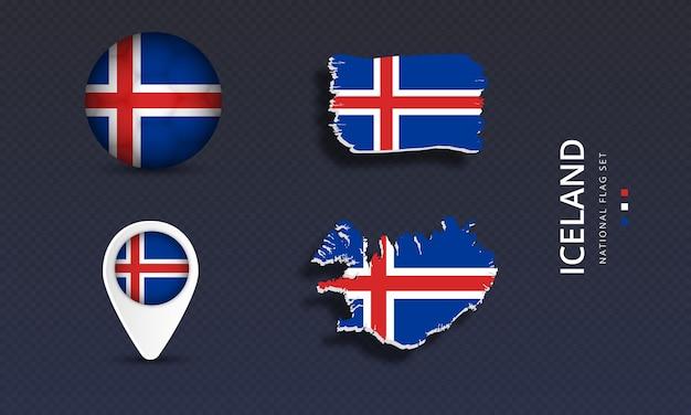 아이슬란드 국가 국가 웨이브 플래그 세트