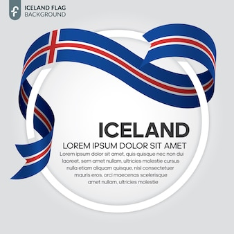 Iceland ribbon flag vector illustration on a white background