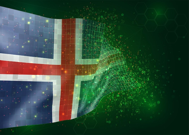 Iceland, on vector 3d flag on green background with polygons and data numbers