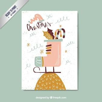Iceskateブートと手描きのクリスマスカード