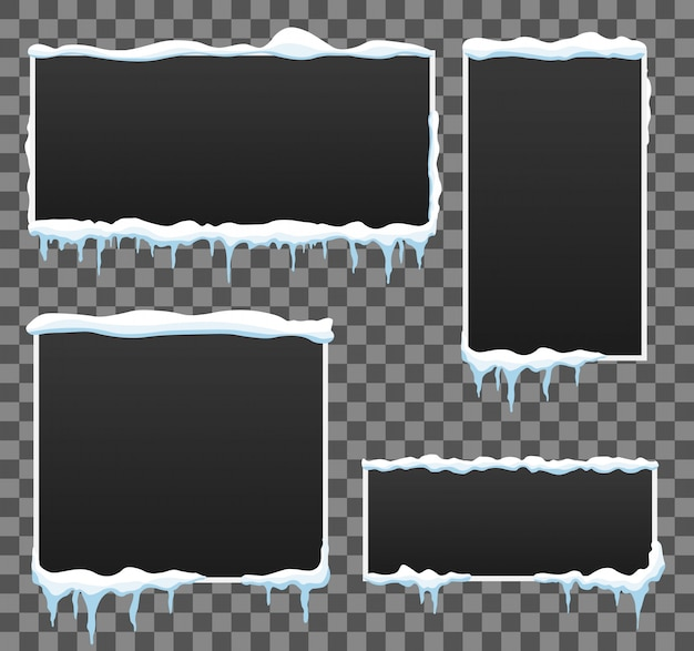 Icicle winter banner background. snow piles.