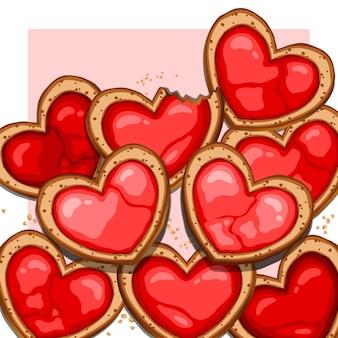 Глазурное печенье в форме сердца