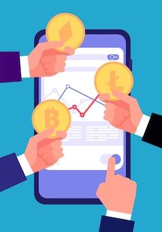 Концепция биткойн, ico и блокчейн. торговля криптовалютой и инвестирование. допустимый интернет-транзакции altcoin векторный фон