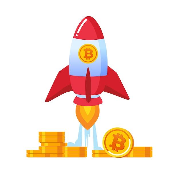 Ico bitcoin은 로켓 평면 벡터 일러스트 배너 및 방문 페이지로 나타냅니다.