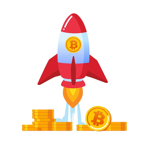 Ico bitcoin represent with rocket flat vector illustration banner and landing page
