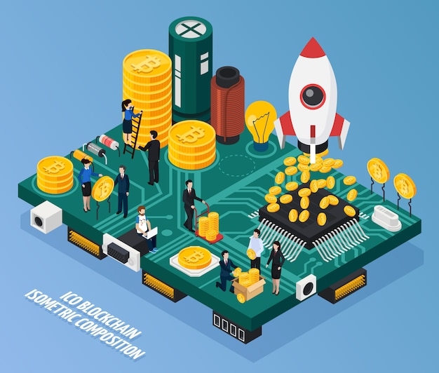 Ico blockchain isometric composition