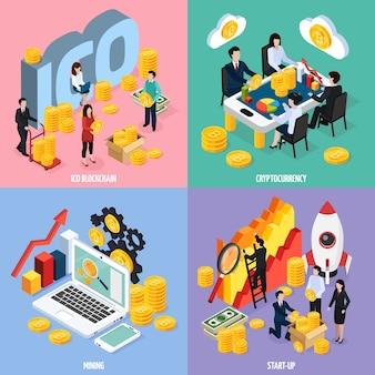Изометрическая концепция дизайна блокчейна ico с совместной работой, майнингом криптовалюты, маркетинговыми исследованиями и изолированным запуском