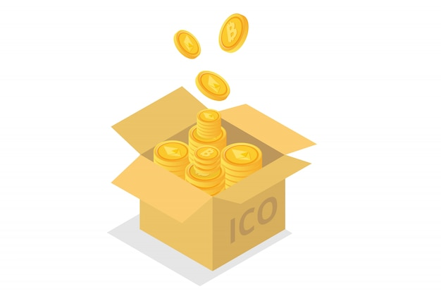 Ico concept, initial coin offering.   illustration.