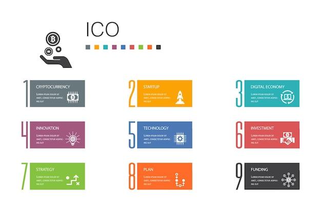 Ico infographic 10 option line concept. криптовалюта, запуск, цифровая экономика, простые иконки технологии