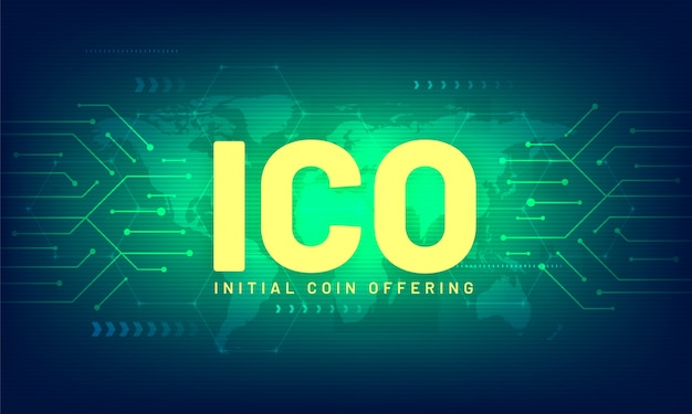 Ico initial coin offering, futuristic world map and blockchain peer to peer network.