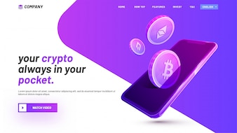 ICO landing page of website, with cryptocurrencies and smart device.