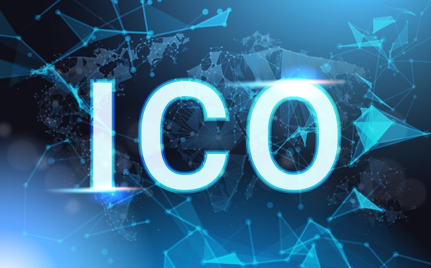 Ico sign over futuristic low poly mesh wireframe initial coin offering concept