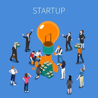 Ico for startup isometric composition