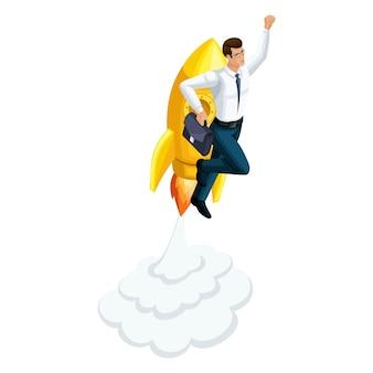 Бизнесмен взлетает, ракета летит вверх, символ свободы и богатства, преуспевает, запускает стартап ico