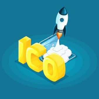 Концепция блокчейн-инфографики, криптовалютного майнинга, ico запуска проекта иллюстрации