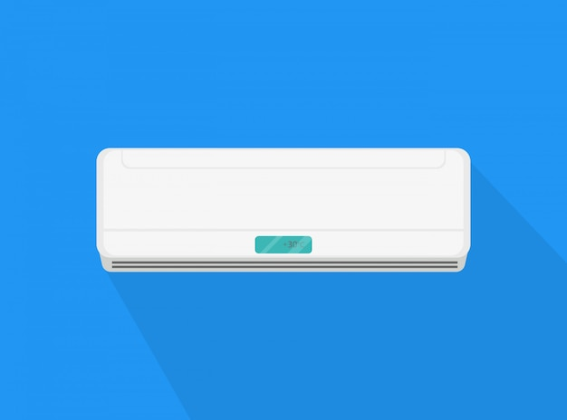 Icon of air conditioning with shadow. household appliance. Premium Vector