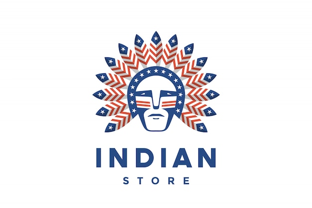 Icon of american man with indian chief feathers on the head