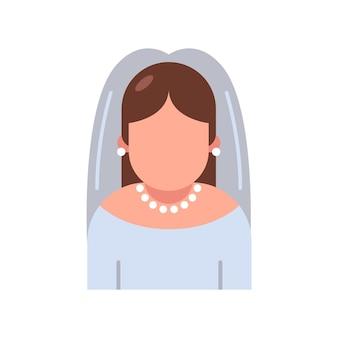흰색 바탕에 웨딩 드레스에 아이콘 신부. 삽화.