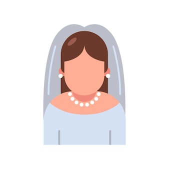 Icon bride in a wedding dress on a white background.   illustration.