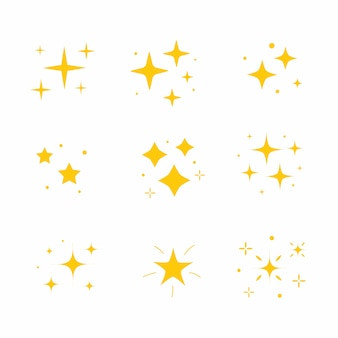 아이콘 밝은 반짝임. 반짝 아이콘 세트입니다. 옐로우 골드 스타 요소, 라이트