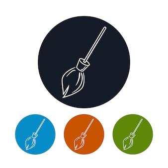 Значок метлы, четыре типа красочных круглых значков метлы, векторные иллюстрации