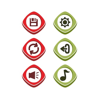 Icon button set theme vector art illustration