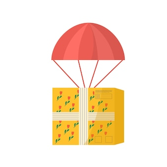 Icon of carton packages with adhesive tape for delivery with air balloon . postal parcels, packs, boxes for online delivery service concept. vector