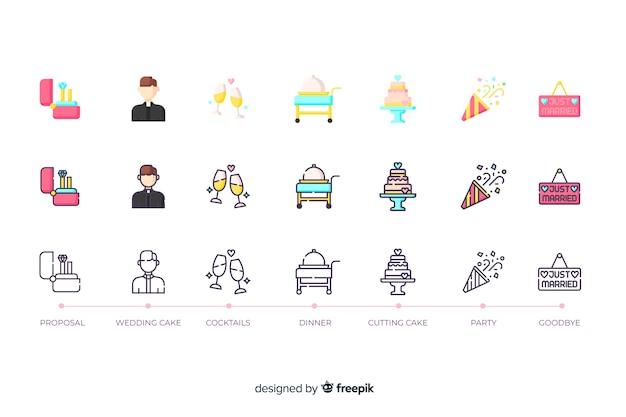 Коллекция иконок для свадьбы в плоском дизайне