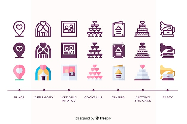 Icon collection for wedding event